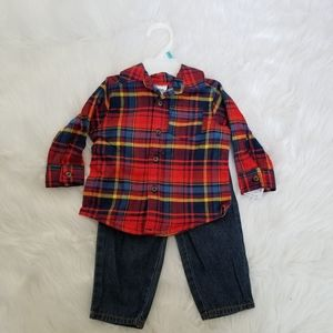 Carter's baby boy plaid shirt and jeans NWT